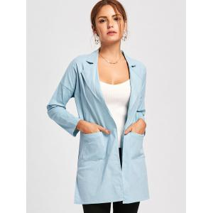 Drop Shoulder Double Pockets Side Slit Coat - LIGHT BLUE 2XL
