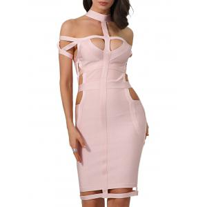 Cut Out Cage Bodycon Bandage Dress -