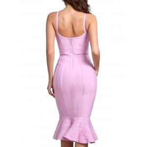 Bodycon Mermaid V-neck Slip Bandage Dress - PAPAYA XS