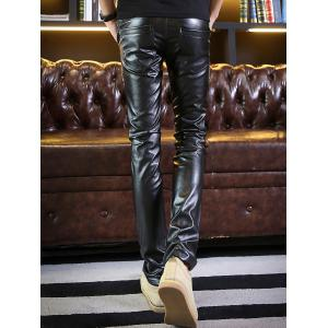 Zip Embellished Skinny Faux Leather Pants - BLACK 32