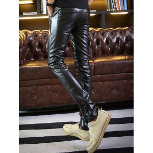 Zip Embellished Skinny Faux Leather Pants - Noir 34
