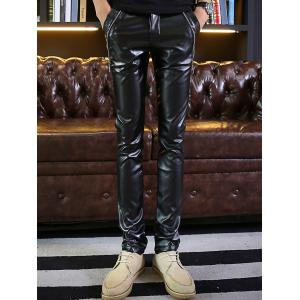Zip Embellished Skinny Faux Leather Pants - BLACK 36
