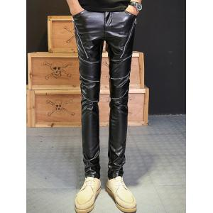 Zip Embellished Skinny PU Leather Pants - Noir 32