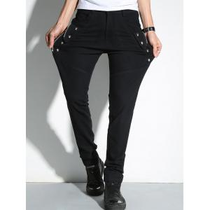Slim Fit Skull and Zip Embellished Pants - BLACK 36