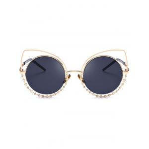 Metal Rhinestone Cat Eye Sunglasses - GLOD FRAME + BLACK LENS