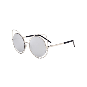 Metal Rhinestone Cat Eye Sunglasses - SLIVER FRAME+MERCURY LENS