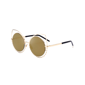 Metal Rhinestone Cat Eye Sunglasses - GOLE FRAME + GOLD LENS