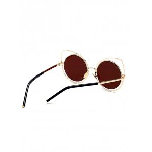 Metal Rhinestone Cat Eye Sunglasses -