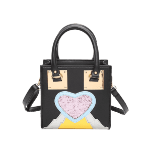 Glitter Color Block Heart Handbag -