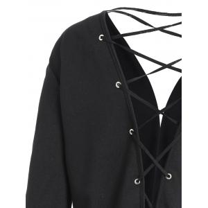 Open Front Plus Size Back Lace-up Jacket - BLACK 4XL