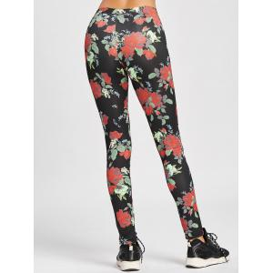 Skinny High Waisted Floral Leggings - COLORMIX S