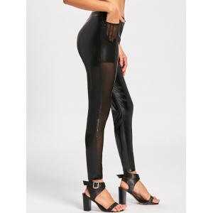 Sheer Mesh Insert High Waist Faux Leather Pants - BLACK M
