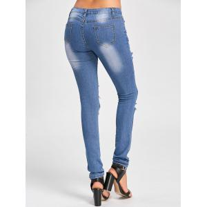 Cut Out Distressed Skinny Jeans - BLUE M