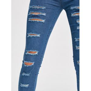 Ladder Distressed Skinny Jeans -
