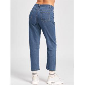Capri Patched Jeans - BLUE S