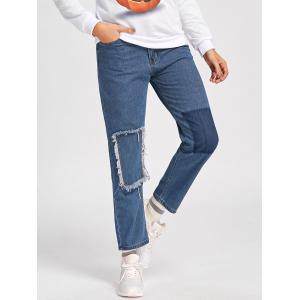 Capri Patched Jeans - BLUE M