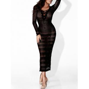 Voir à travers Sheer Bodycon Club Dress - Noir S