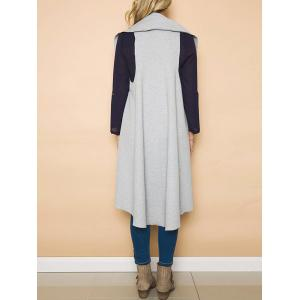 High Low Draped Vest - GRAY S