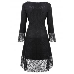 Brocade Lace Sweetheart Neck Dress - Noir L