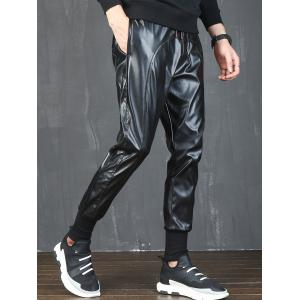 Beam Feet Drawstring Faux Leather Pants - BLACK 34