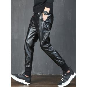 Beam Feet Drawstring Faux Leather Pants - BLACK 36