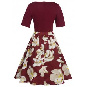 Floral Vintage Pleated A Line Dress - RED S