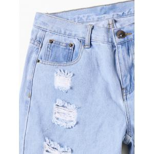 Faded Destroyed Straight Jeans - LIGHT BLUE M