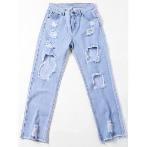 Faded Destroyed Straight Jeans - LIGHT BLUE L
