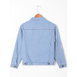Flap Pockets Narcissus Embroidery Denim Jacket - LIGHT BLUE M