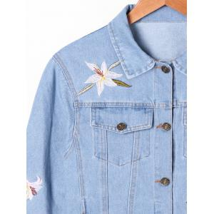 Blouson à rabat Narcissus Embroidery Denim Jacket -