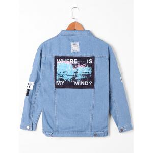 Appliqued Frayed Denim Jacket - DENIM BLUE M