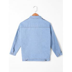 Flap Pocket Contraste Trim Jean Jacket - Denim Bleu L