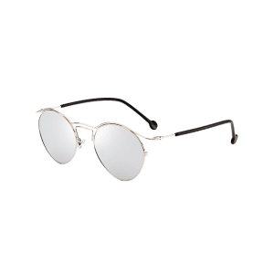 Retro Metal Pilot Shades Sunglasses - SILVER FRAME + WHITE LENS