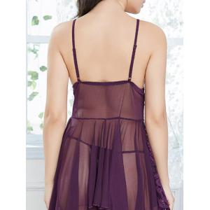 Lace Handkerchief Slip Babydoll with Fringes - DEEP PURPLE ONE SIZE