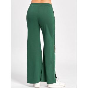 Wide Leg Side Slit Button Up Pants - GREEN M