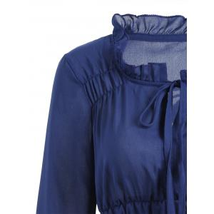 Sheer Ruffled Neck Chiffon Blouse - PURPLISH BLUE S