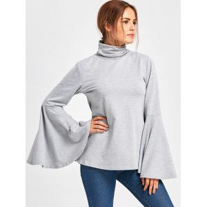 Flare Sleeve High Neck Top -