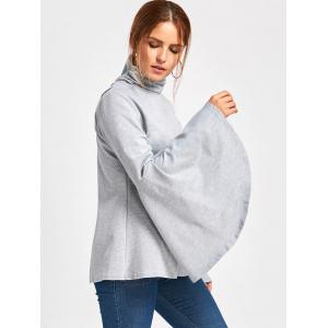 Flare Sleeve High Neck Top - LIGHT GRAY M