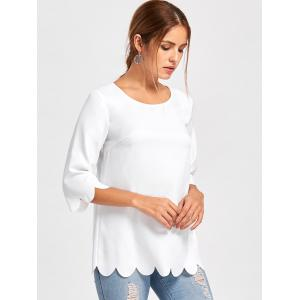 Button Embellished Scalloped Edge Blouse - WHITE XL