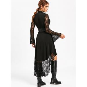 Flare Sleeve High Low Dress with Lace -