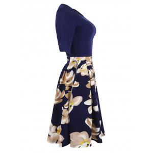 Floral Vintage Pleated A Line Dress -