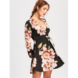 Belted Surplice Mini Flower Skater Dress -