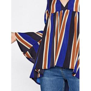 Striped Flare Sleeve Smock Top -