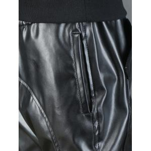 Beam Feet Drawstring Faux Leather Pants -