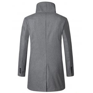 Turtle Neck Single Breasted Woolen Coat -