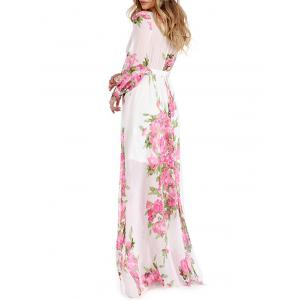 Floral Low Cut Surplice Long Flowy Dress -