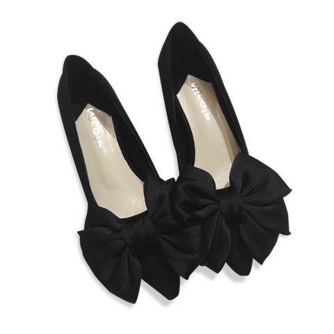 Chic Bowknot Faux Suede Pumps