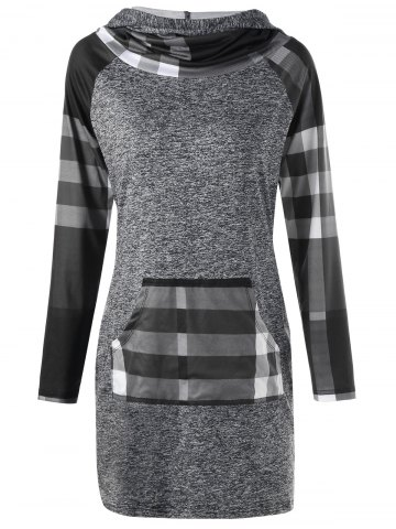 Online Plaid Insert Heathered Longline Hoodie - 2XL COLORMIX Mobile