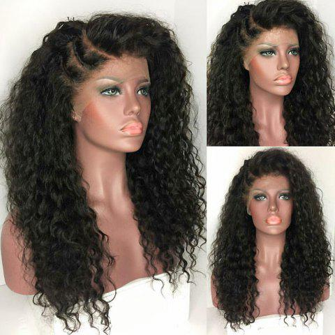 Store Long Deep Side Part Fluffy Kinky Curly Synthetic Lace Front Wig - BLACK  Mobile