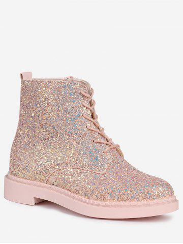 Buy Glitter Tie Up Short Boots - 40 PAPAYA Mobile